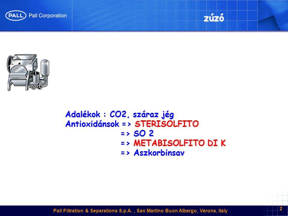 zúzó Adalékok : CO2, száraz jég Antioxidánsok => STERISOLFITO