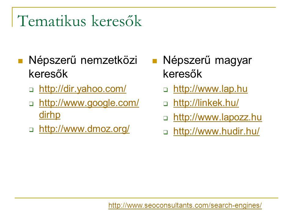 Tematikus keresők Népszerű nemzetközi keresők Népszerű magyar keresők