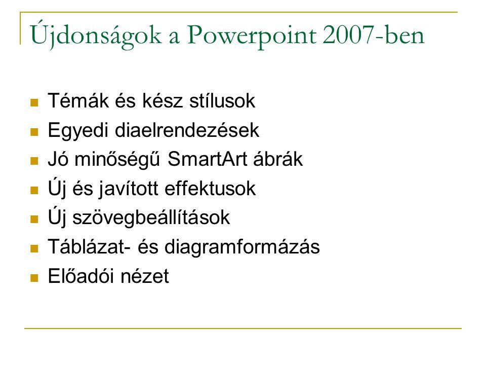 Újdonságok a Powerpoint 2007-ben