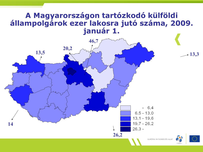 A Magyarországon tartózkodó külföldi állampolgárok ezer lakosra jutó száma, 2009. január 1.