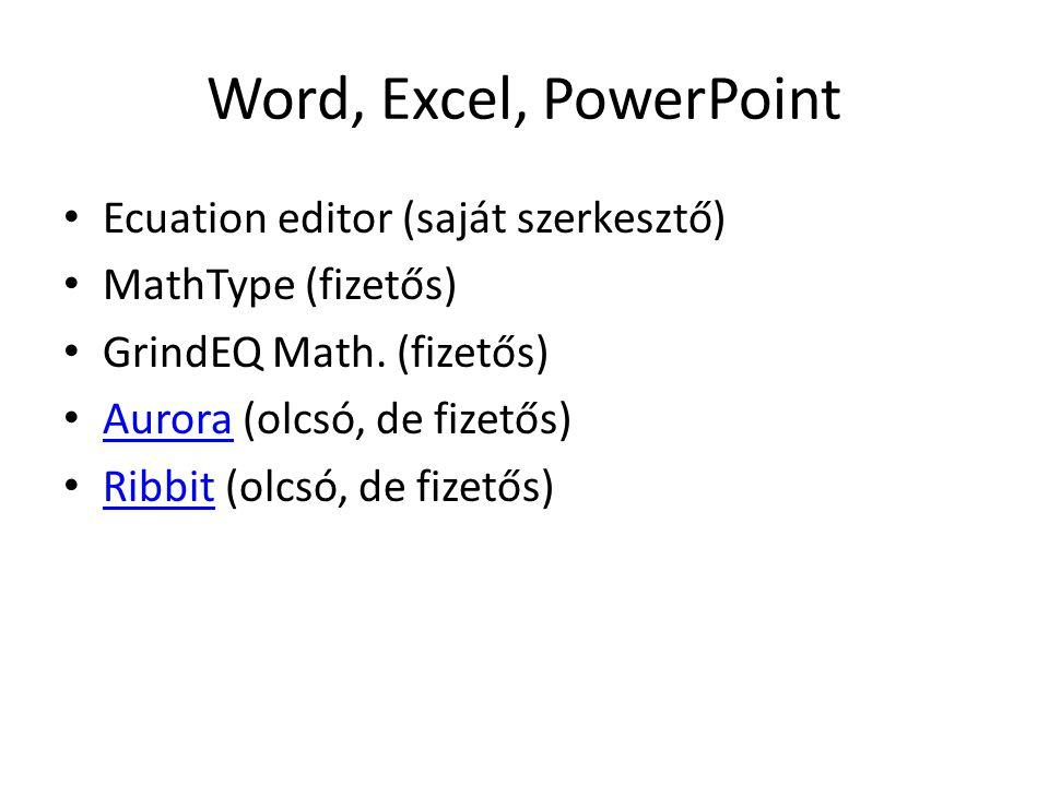 Word, Excel, PowerPoint Ecuation editor (saját szerkesztő)