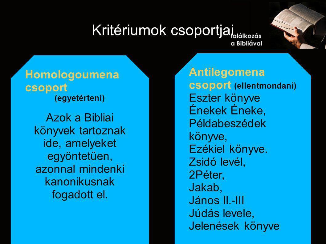Kritériumok csoportjai