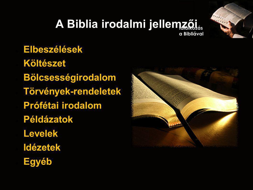 A Biblia irodalmi jellemzői