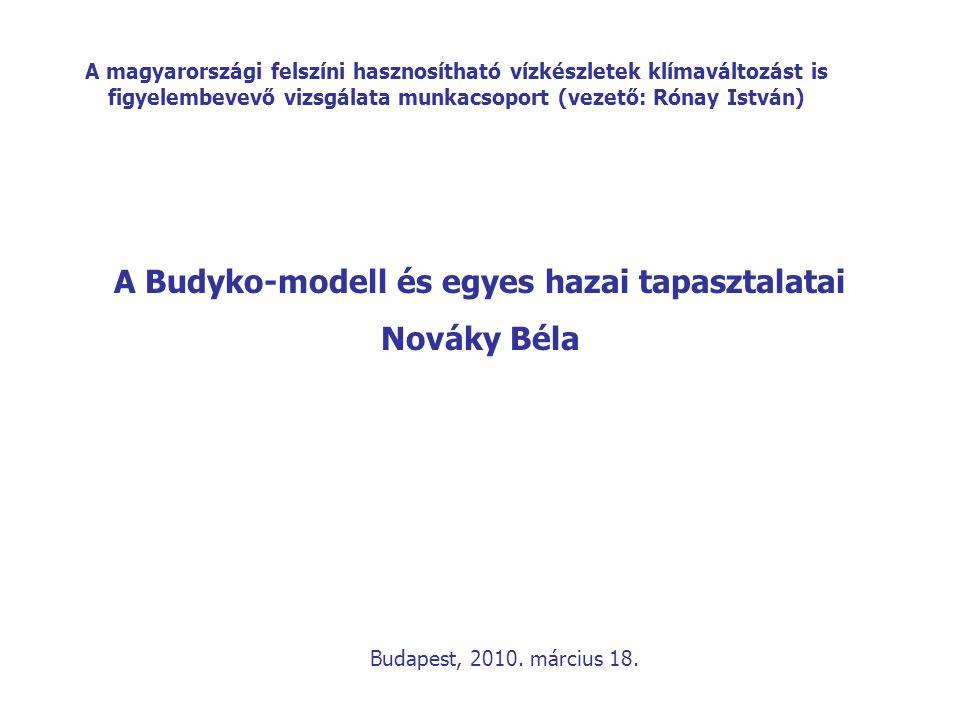 A Budyko-modell és egyes hazai tapasztalatai