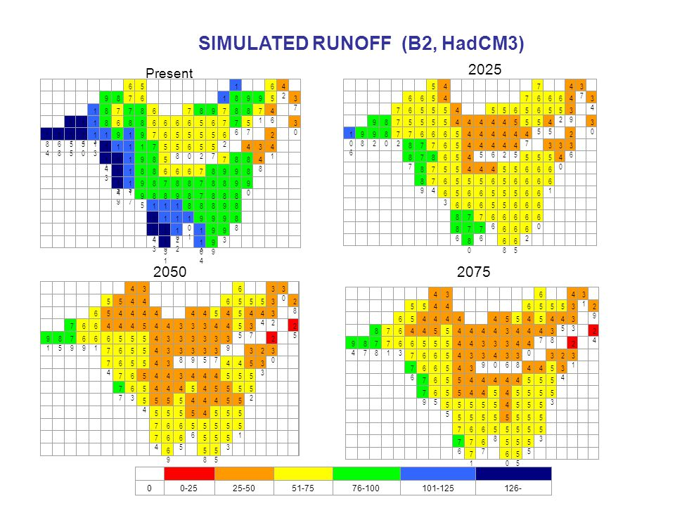 SIMULATED RUNOFF (B2, HadCM3)