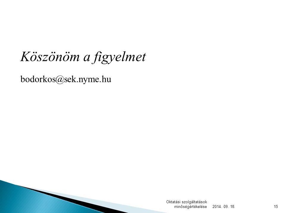 Köszönöm a figyelmet bodorkos@sek.nyme.hu