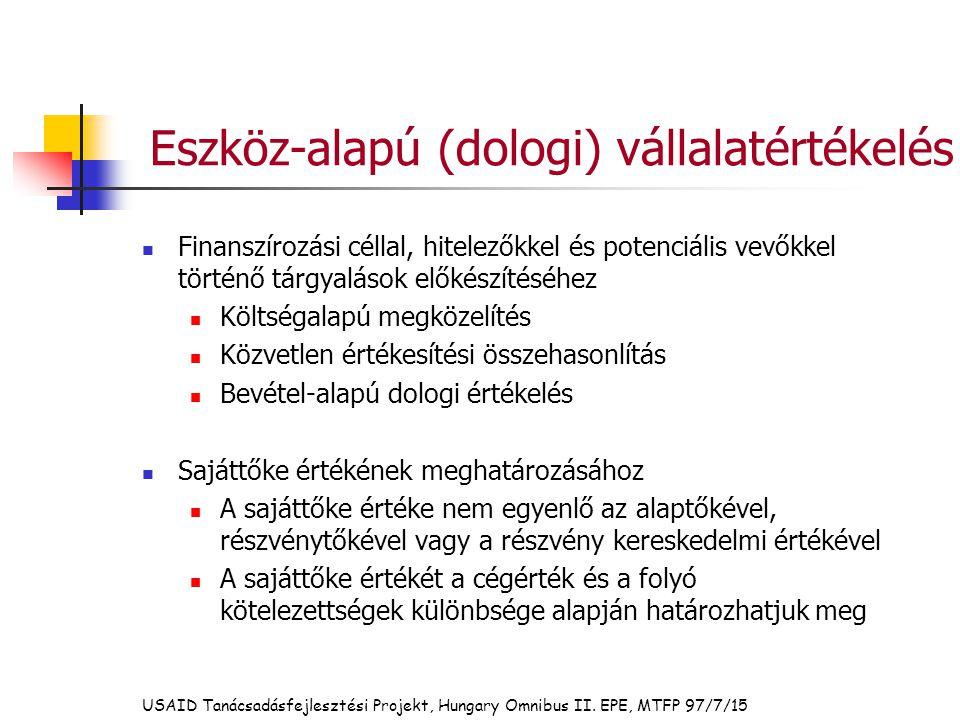 Eszköz-alapú (dologi) vállalatértékelés