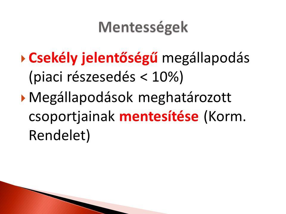 Mentességek Csekély jelentőségű megállapodás (piaci részesedés < 10%) Megállapodások meghatározott csoportjainak mentesítése (Korm.