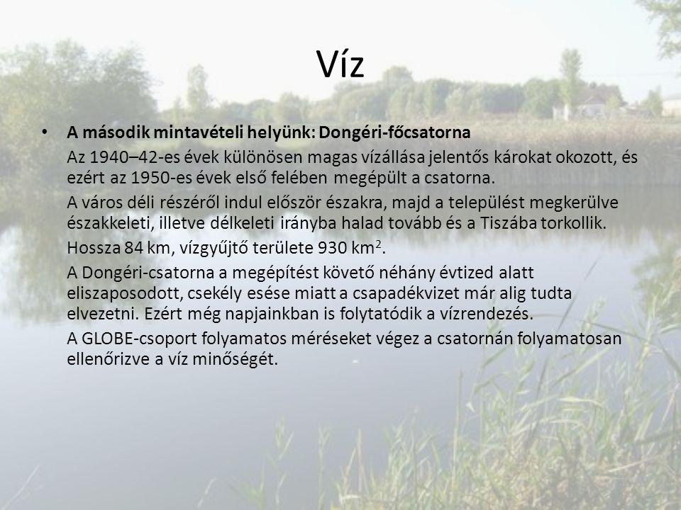 Víz A második mintavételi helyünk: Dongéri-főcsatorna