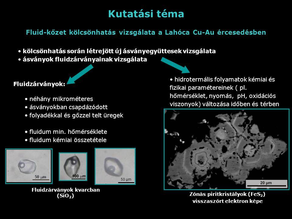 Kutatási téma Fluid-kőzet kölcsönhatás vizsgálata a Lahóca Cu-Au ércesedésben. kölcsönhatás során létrejött új ásványegyüttesek vizsgálata.