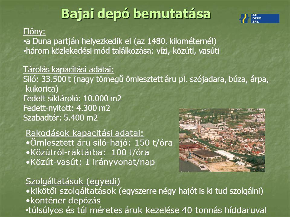 Bajai depó bemutatása Előny: