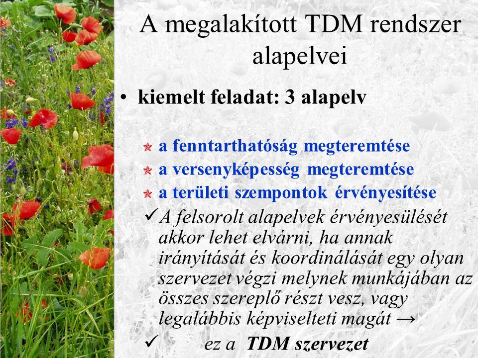 A megalakított TDM rendszer alapelvei