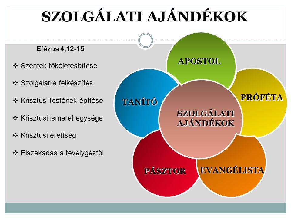 SZOLGÁLATI AJÁNDÉKOK APOSTOL PRÓFÉTA SZOLGÁLATI AJÁNDÉKOK TANÍTÓ