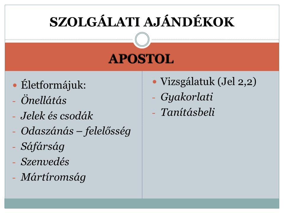 SZOLGÁLATI AJÁNDÉKOK APOSTOL Vizsgálatuk (Jel 2,2) Életformájuk: