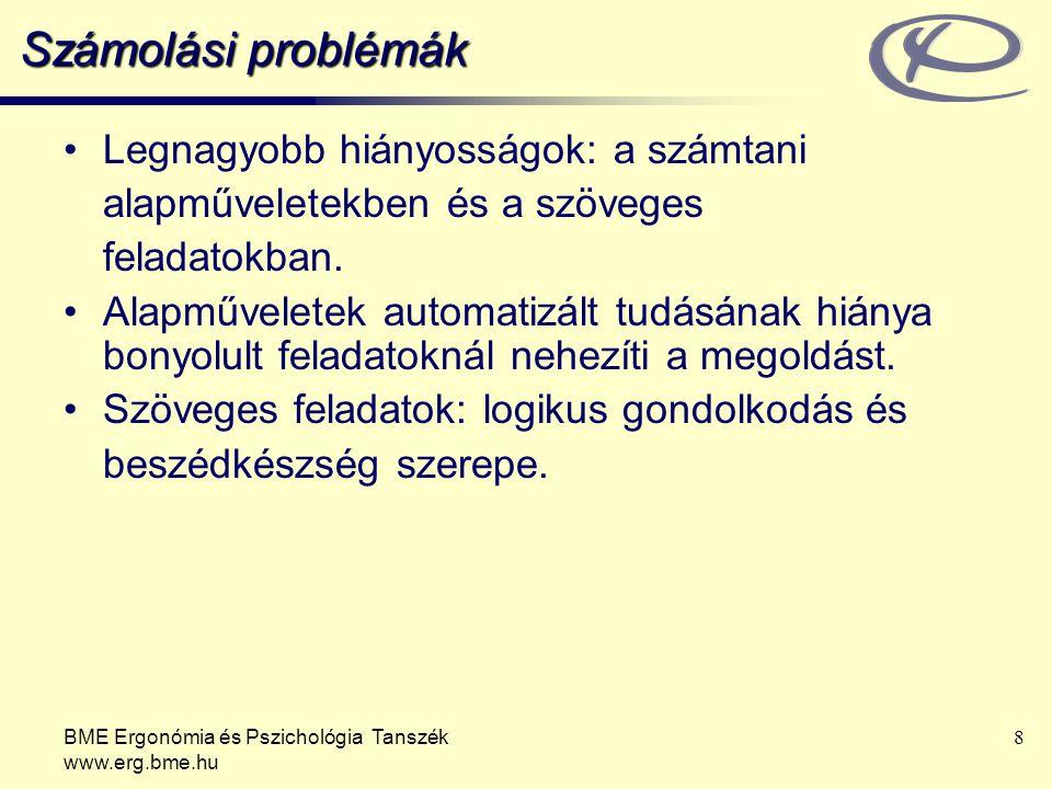 Számolási problémák Legnagyobb hiányosságok: a számtani