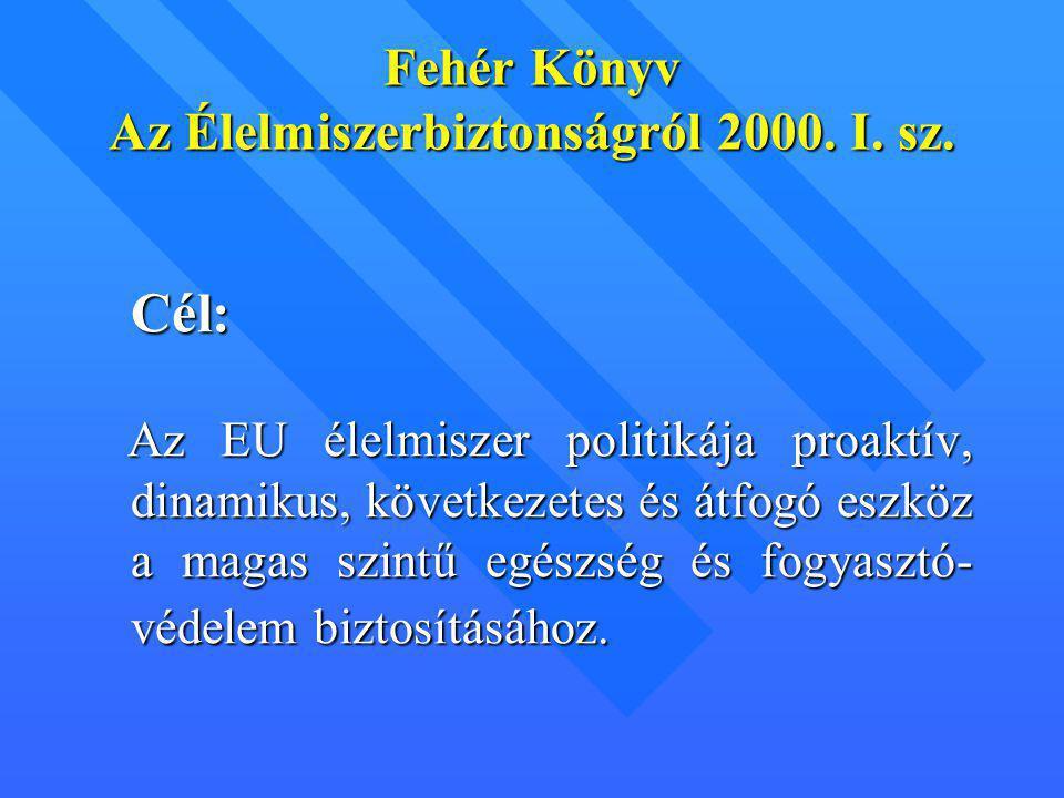 Fehér Könyv Az Élelmiszerbiztonságról 2000. I. sz.