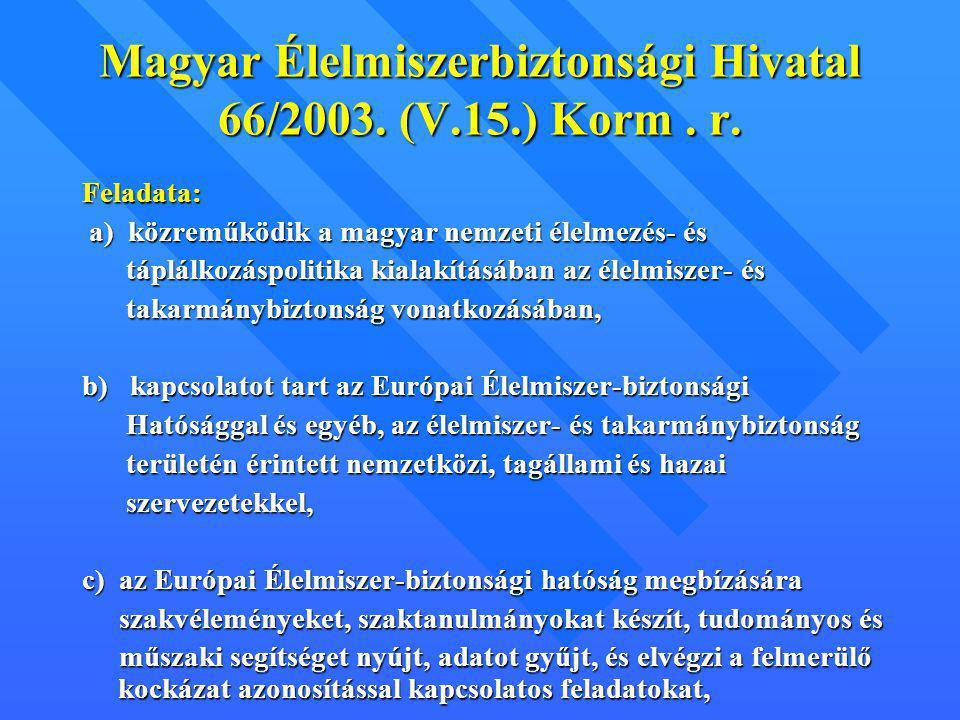 Magyar Élelmiszerbiztonsági Hivatal 66/2003. (V.15.) Korm . r.