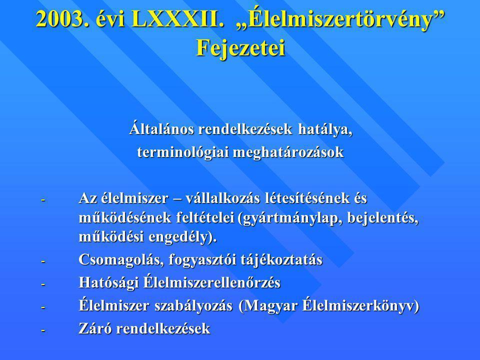 """2003. évi LXXXII. """"Élelmiszertörvény Fejezetei"""