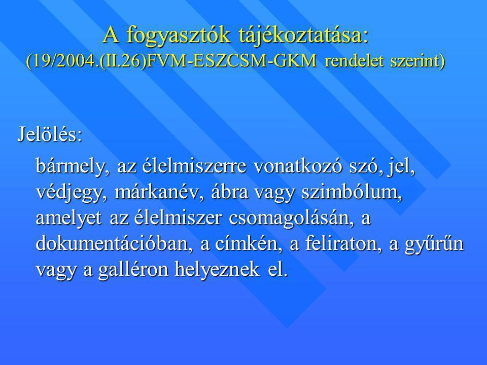 A fogyasztók tájékoztatása: (19/2004. (II