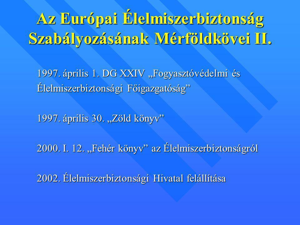 Az Európai Élelmiszerbiztonság Szabályozásának Mérföldkövei II.