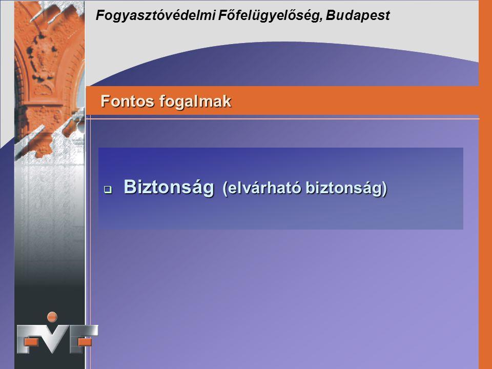 Fontos fogalmak Fogyasztóvédelmi Főfelügyelőség, Budapest