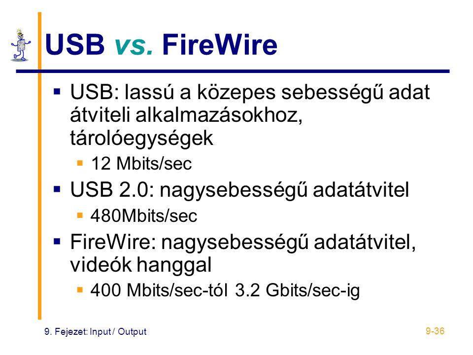 USB vs. FireWire USB: lassú a közepes sebességű adat átviteli alkalmazásokhoz, tárolóegységek. 12 Mbits/sec.