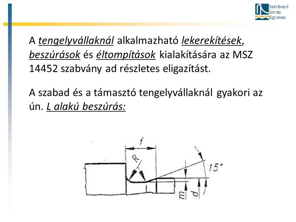 A tengelyvállaknál alkalmazható lekerekítések, beszúrások és éltompítások kialakítására az MSZ 14452 szabvány ad részletes eligazítást.