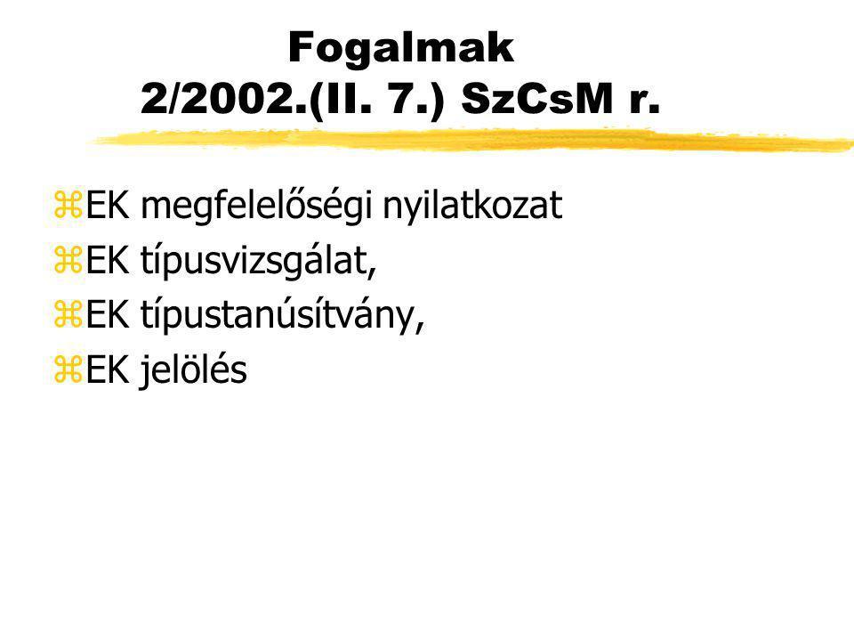 Fogalmak 2/2002.(II. 7.) SzCsM r. EK megfelelőségi nyilatkozat