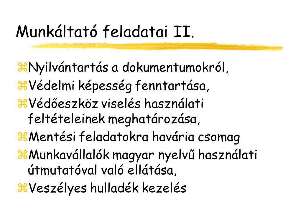 Munkáltató feladatai II.