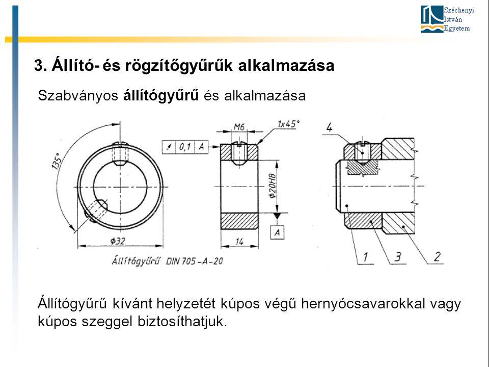 3. Állító- és rögzítőgyűrűk alkalmazása