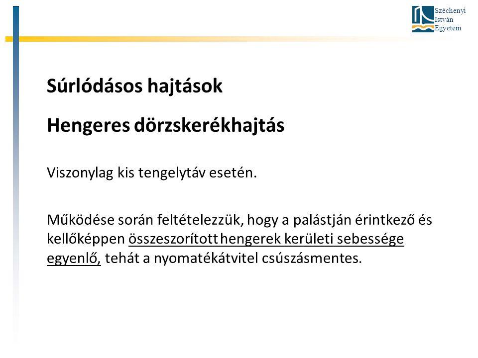 Hengeres dörzskerékhajtás Viszonylag kis tengelytáv esetén.