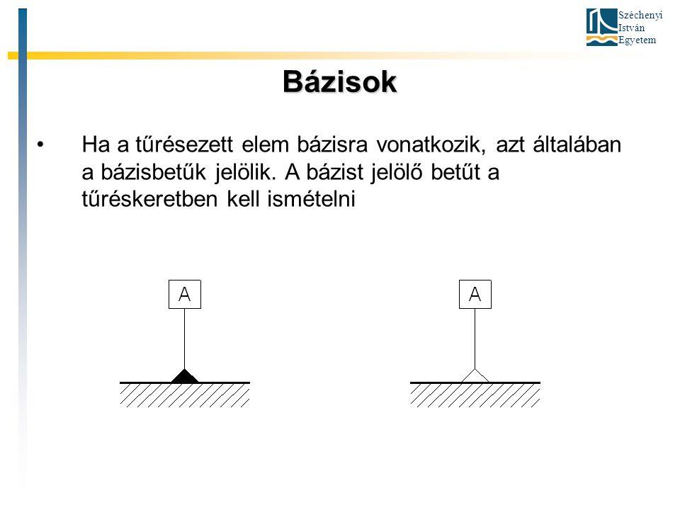 Bázisok Ha a tűrésezett elem bázisra vonatkozik, azt általában a bázisbetűk jelölik.