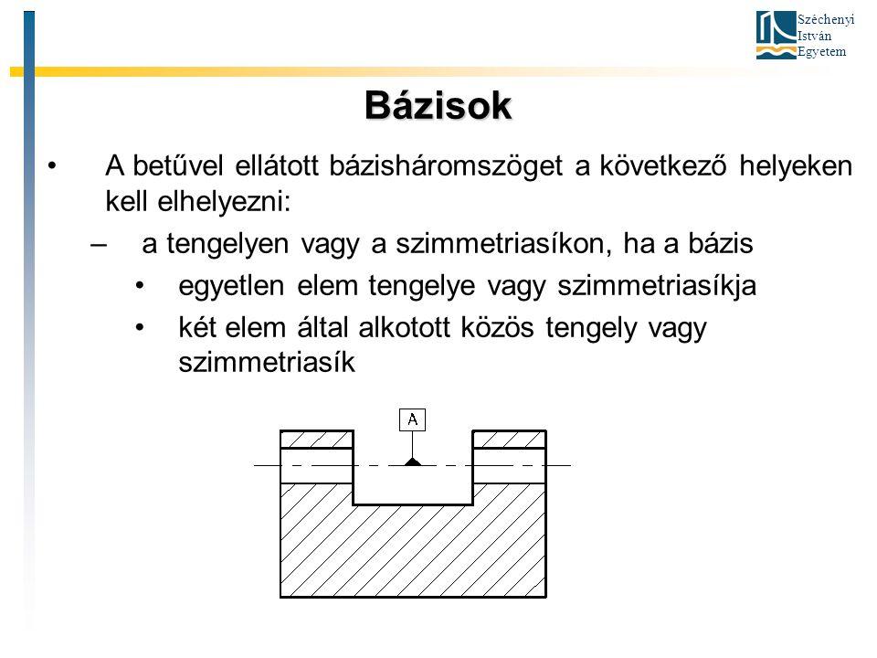 Bázisok A betűvel ellátott bázisháromszöget a következő helyeken kell elhelyezni: a tengelyen vagy a szimmetriasíkon, ha a bázis.