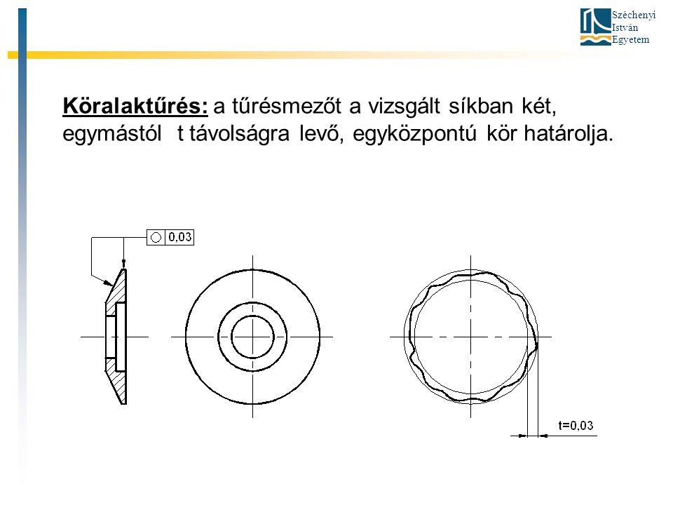 Köralaktűrés: a tűrésmezőt a vizsgált síkban két, egymástól t távolságra levő, egyközpontú kör határolja.