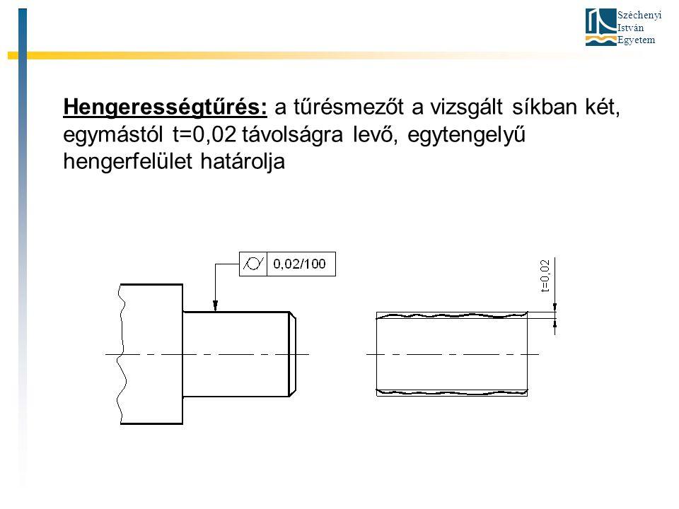 Hengerességtűrés: a tűrésmezőt a vizsgált síkban két, egymástól t=0,02 távolságra levő, egytengelyű hengerfelület határolja