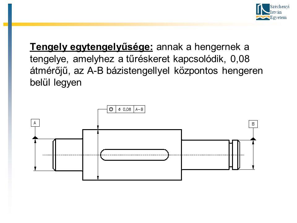 Tengely egytengelyűsége: annak a hengernek a tengelye, amelyhez a tűréskeret kapcsolódik, 0,08 átmérőjű, az A-B bázistengellyel központos hengeren belül legyen