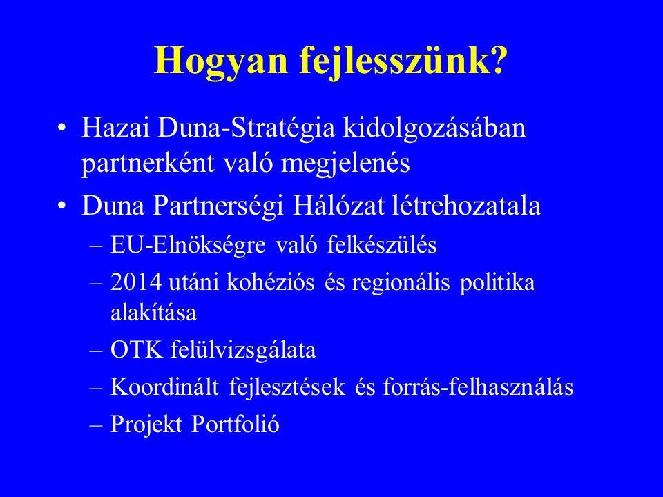 Hogyan fejlesszünk Hazai Duna-Stratégia kidolgozásában partnerként való megjelenés. Duna Partnerségi Hálózat létrehozatala.