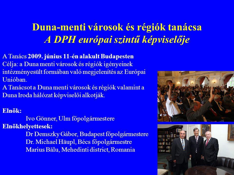 Duna-menti városok és régiók tanácsa A DPH európai szintű képviselője