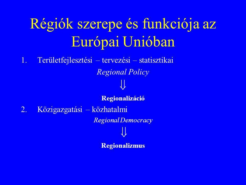 Régiók szerepe és funkciója az Európai Unióban