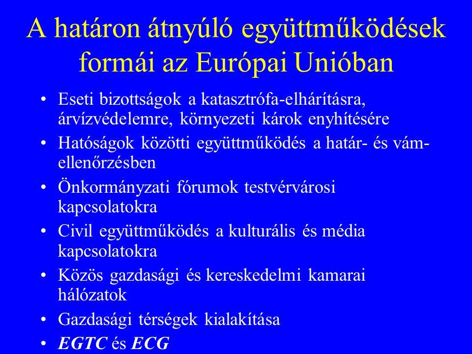 A határon átnyúló együttműködések formái az Európai Unióban