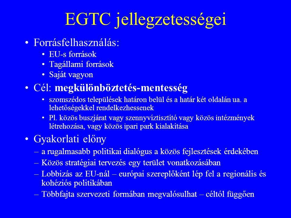 EGTC jellegzetességei