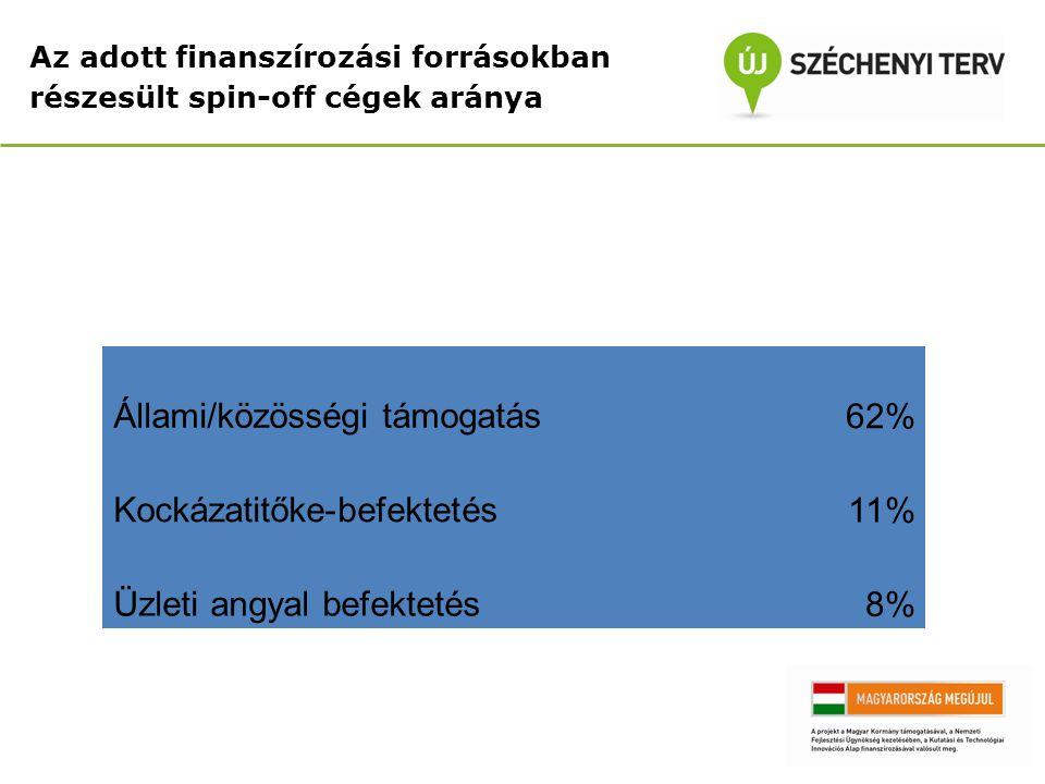 Állami/közösségi támogatás 62% Kockázatitőke-befektetés 11%