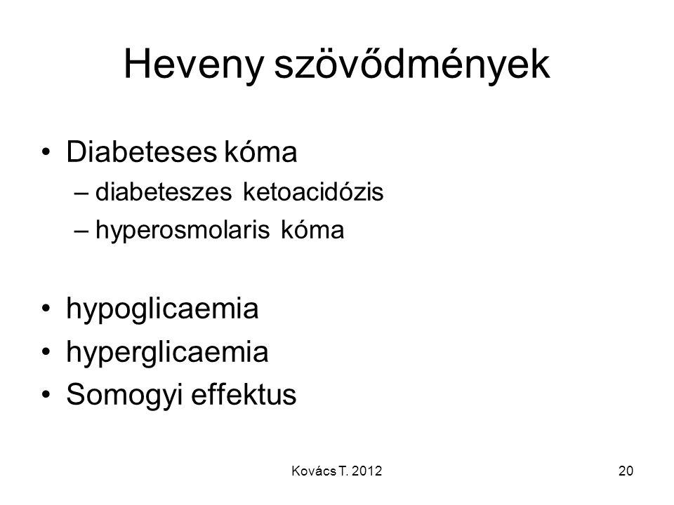 Heveny szövődmények Diabeteses kóma hypoglicaemia hyperglicaemia