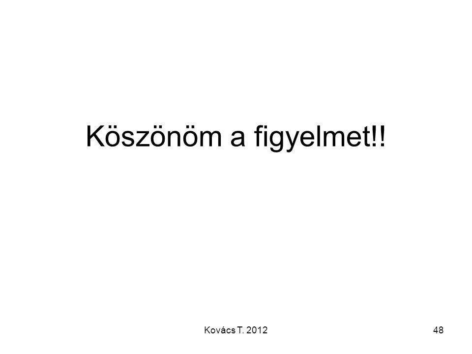 Köszönöm a figyelmet!! Kovács T. 2012