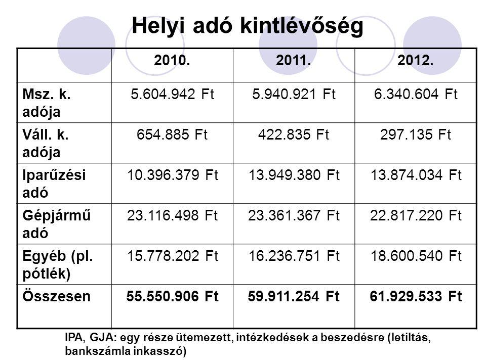 Helyi adó kintlévőség 2010. 2011. 2012. Msz. k. adója 5.604.942 Ft