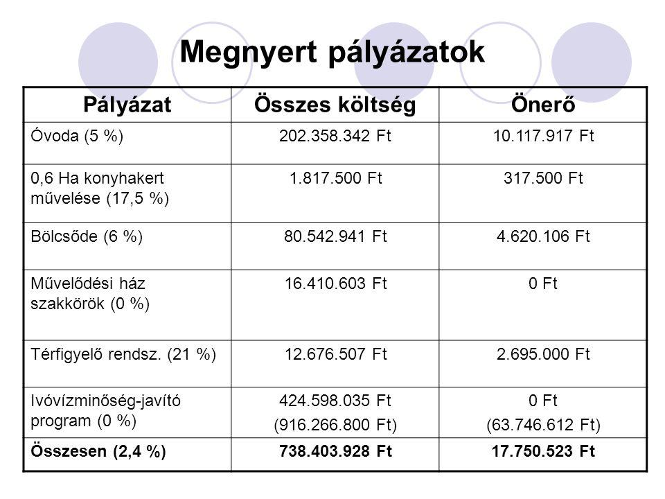 Megnyert pályázatok Pályázat Összes költség Önerő Óvoda (5 %)