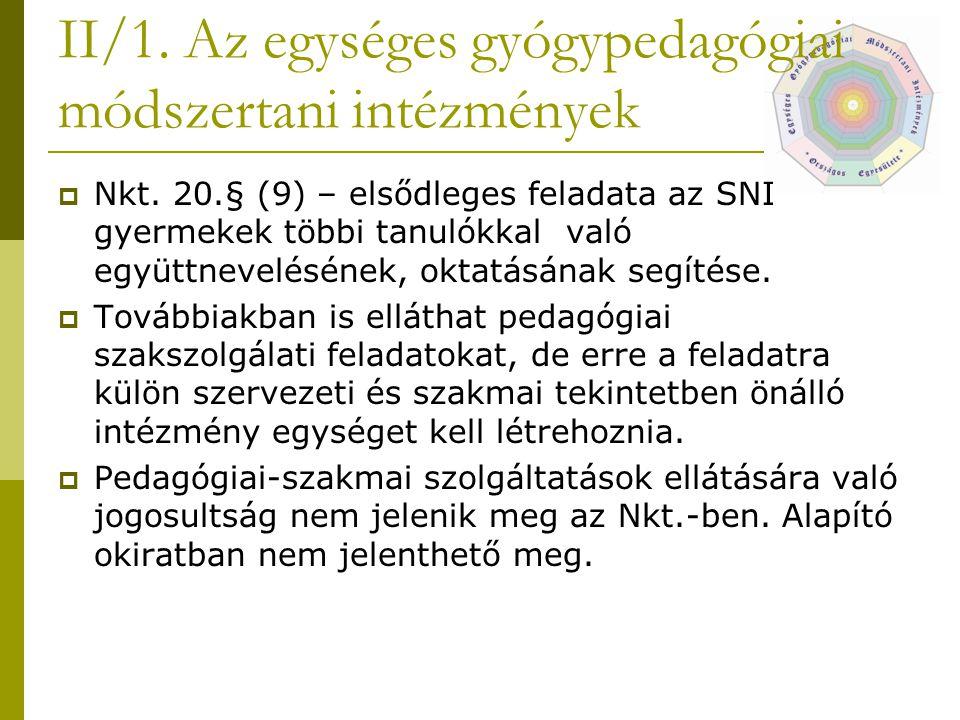II/1. Az egységes gyógypedagógiai módszertani intézmények