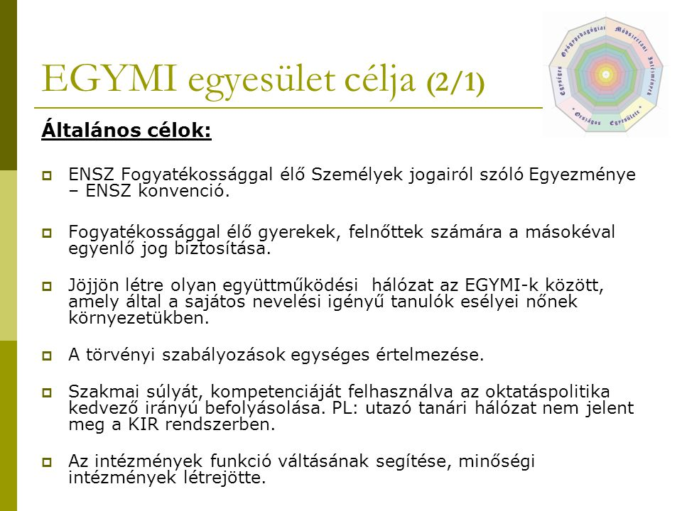 EGYMI egyesület célja (2/1)