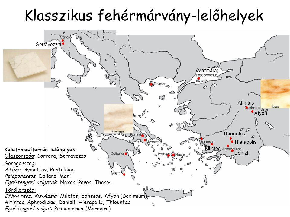Klasszikus fehérmárvány-lelőhelyek