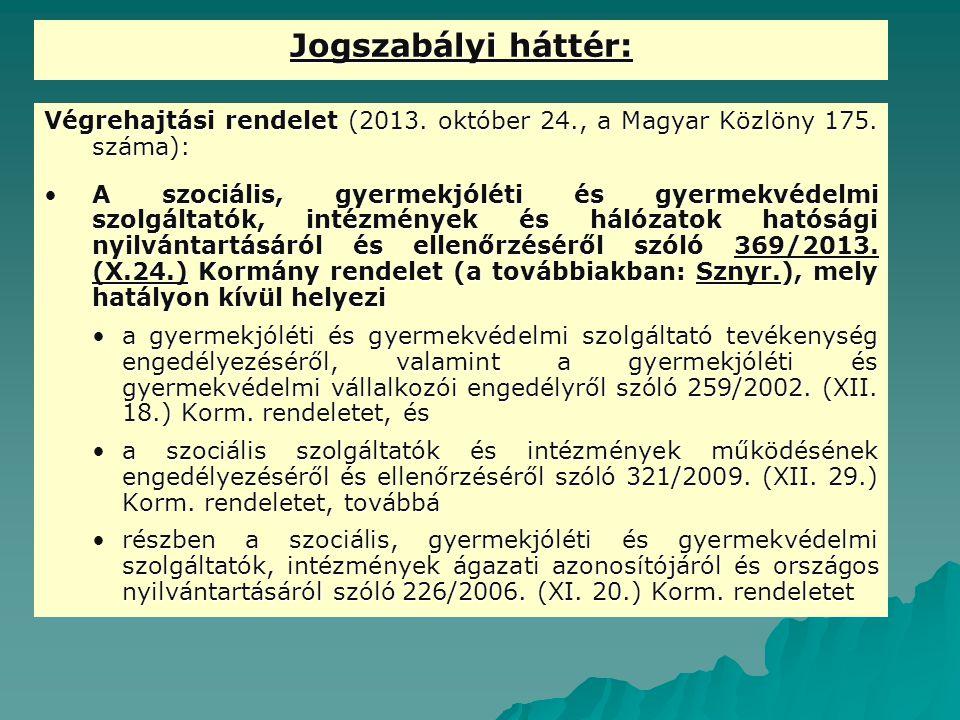 Jogszabályi háttér: Végrehajtási rendelet (2013. október 24., a Magyar Közlöny 175. száma):